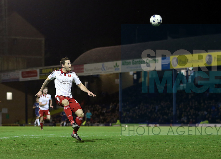 Sheffield United's Billy Sharp lobs the ball over the bar during the League One match at Roots Hall Stadium.  Photo credit should read: David Klein/Sportimage