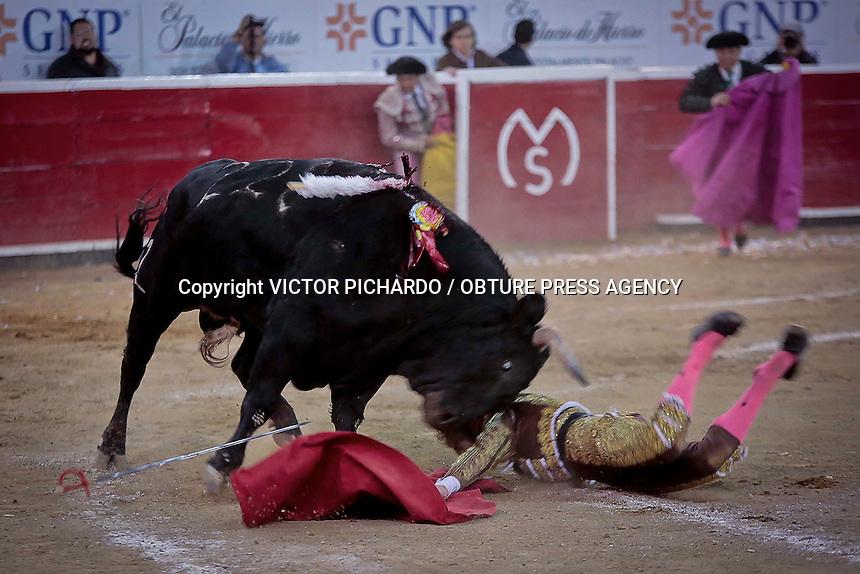 Quer&eacute;taro, Qro. 13 DE FEBRERO 2016.- Aspectos de la Corrida de toros realizada en la Plaza de Toros Santa Mar&iacute;a de Quer&eacute;taro en la que participaron los matadores: Enrrique Ponce, Octavio Garc&iacute;a &quot; El Payo&quot; y Morante de la Puebla. El Matador queretano corto una oreja en su primer toro y sufri&oacute; un perance en el ruedo luego de una ca&iacute;da en el segundo. El triunfador de la corrida fue el matador Enrrique Ponce quien cort&oacute; dos orejas a su segundo toro.<br /> Foto: Victor Pichardo / Obture Press Agency