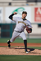 Bradenton Marauders starting pitcher Eduardo Vera (15) delivers a pitch during the first game of a doubleheader against the Lakeland Flying Tigers on April 11, 2018 at Publix Field at Joker Marchant Stadium in Lakeland, Florida.  Lakeland defeated Bradenton 5-4.  (Mike Janes/Four Seam Images)