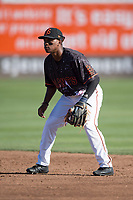 San Jose Giants second baseman Jalen Miller (2) during a California League game against the Lancaster JetHawks at San Jose Municipal Stadium on May 12, 2018 in San Jose, California. Lancaster defeated San Jose 7-6. (Zachary Lucy/Four Seam Images)