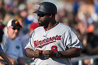 Salt River Rafters manager Tommy Watkins (8), of the Minnesota Twins organization, during the Arizona Fall League Championship game against the Peoria Javelinas at Scottsdale Stadium on November 17, 2018 in Scottsdale, Arizona. Peoria defeated Salt River 3-2 in extra innings. (Zachary Lucy/Four Seam Images)