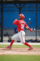 Philadelphia Phillies second baseman Brayan Gonzalez (38) follows through on a swing during an Instructional League game against the Toronto Blue Jays on October 7, 2017 at the Englebert Complex in Dunedin, Florida.  (Mike Janes/Four Seam Images)