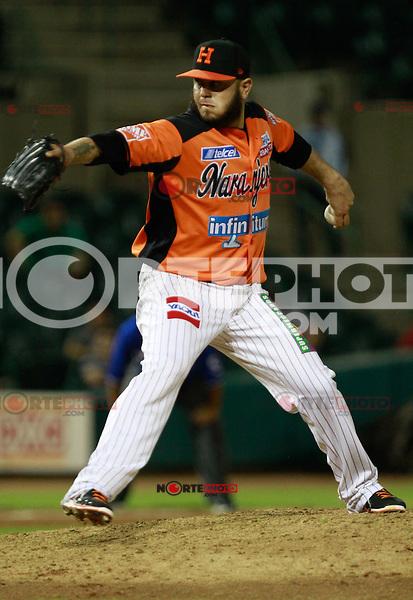 Marco Zavala segundo relevo de naranjeros durante el juego de beisbol de Naranjeros vs Ca&ntilde;eros durante la primera serie de la Liga Mexicana del Pacifico.<br /> 15 octubre 2013