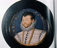 Visual Arts:  Francis Drake, 1581 Portrait by miniaturist Nicholas Hilliard.  National Portrait Gallery, London.