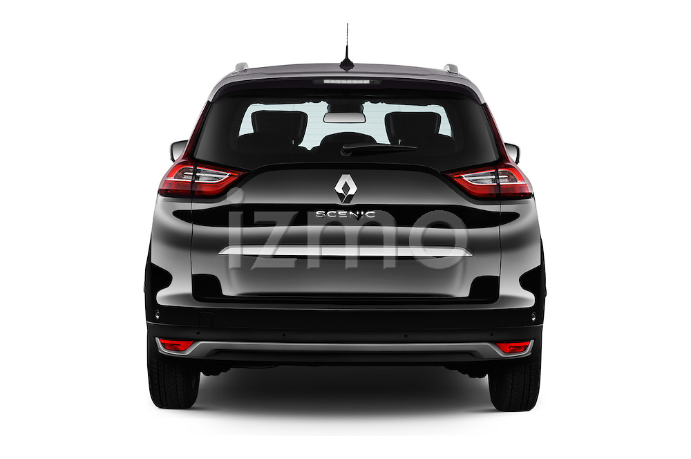 Straight rear view of 2017 Renault Grand-Scenic Bose-Edition 5 Door Minivan Rear View  stock images