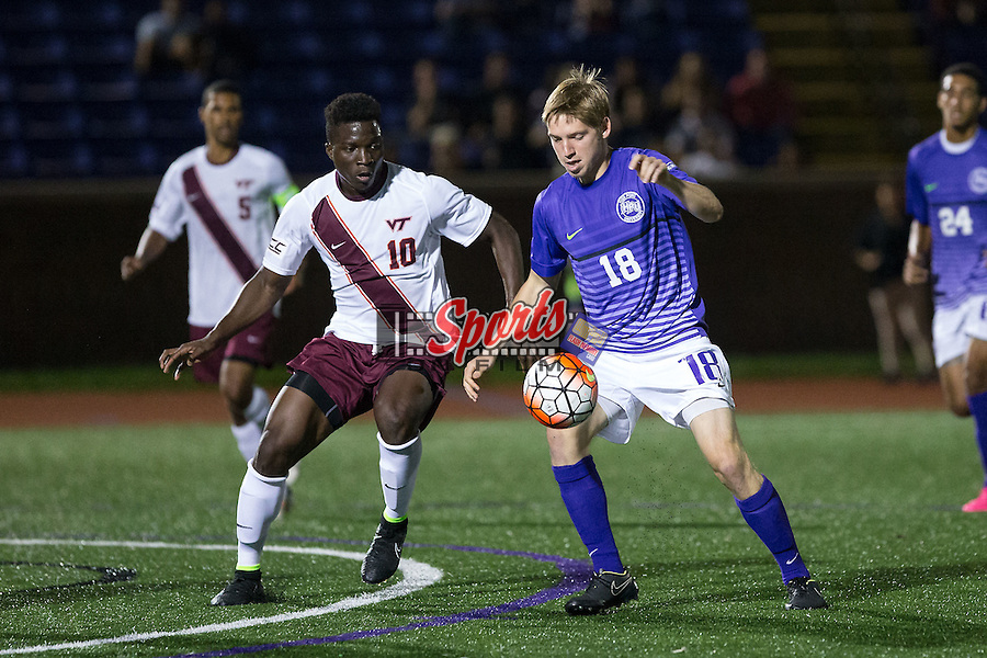 Pat Shelton (18) of the High Point Panthers during second half action against the Virginia Tech Hokies at Vert Track, Soccer & Lacrosse Stadium on October 13, 2015 in High Point, North Carolina.  The Panthers defeated the Hokies 2-1 in overtime.  (Brian Westerholt/Sports On Film)