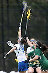 22 February 2015: Duke's Kerrin Maurer (9) wins a faceoff against William & Mary's Zoe Boger (right). The Duke University Blue Devils hosted the College of William & Mary Tribe on the West Turf Field at the Duke Athletic Field Complex in Durham, North Carolina in a 2015 NCAA Division I Women's Lacrosse match. Duke won the game 17-7.