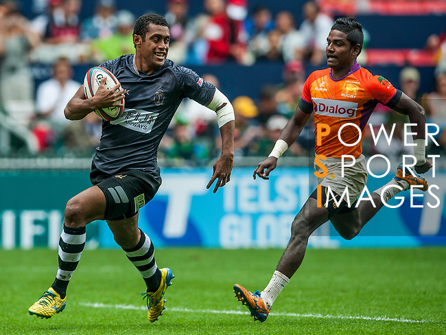 Fiji vs Sri Lanka during the Cathay Pacific / HSBC Hong Kong Sevens at the Hong Kong Stadium on 29 March 2014 in Hong Kong, China. Photo by Juan Flor / Power Sport Images