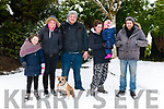 l-r Sophie Donnelly, Melissa O'Riordan, Robert Donnelly, Jeanette Donnelly, Feile Foley. Donal Foley and Dheasa the Dog all from Whitebridge, Killarney having fun in the snow last Friday.