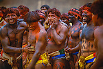 Wrestlers at Kwarup ceremony, Upper Xingu Indians, Matogrosso, Brazil