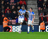 Terence Kongolo of Huddersfield Town left is congratulated on scoring by Jonathan Hogg of Huddersfield Town during AFC Bournemouth vs Huddersfield Town, Premier League Football at the Vitality Stadium on 4th December 2018