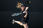 Courtney Meredith of the Wake Forest Demon Deacons follows through on a return during the match against the North Carolina Tar Heels at the Wake Forest Tennis Center on March 29, 2017 in Winston-Salem, North Carolina. The Tar Heels defeated the Demon Deacons 6-1.  (Brian Westerholt/Sports On Film)