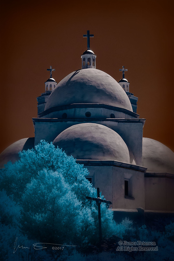 Four Domes: Chapel of All Saints, San Luis, Colorado (Infrared) ©2017 James D Peterson.