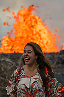 May 2018: Mileka Lincoln, reporter with Hawaii News Now, at the Kilauea Volcano eruption in Leilani Estates, Puna, Big Island of Hawai'i.