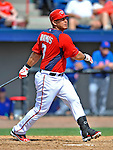 10 March 2012: Washington Nationals' catcher Wilson Ramos in action against the New York Mets at Space Coast Stadium in Viera, Florida. The Nationals defeated the Mets 8-2 in Grapefruit League play. Mandatory Credit: Ed Wolfstein Photo
