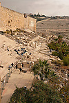 Israel, Jerusalem Archaeological Park, the steps to Hulda Gates are seen in the Ophel area at the foot of the southern wall of the Temple Mount<br />