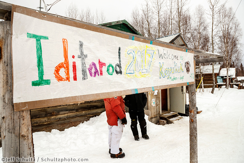 A handmade sign outside the community center at the Koyukuk checkpoint welcomes the Iditarod during the 2017 Iditarod on Saturday afternoon March 11, 2017.<br /> <br /> Photo by Jeff Schultz/SchultzPhoto.com  (C) 2017  ALL RIGHTS RESERVED