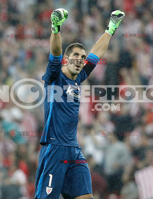 Athletic de Bilbao's Gorka Iraizoz celebrates goal during Supercup of Spain 1st match.August 14,2015. (ALTERPHOTOS/Acero)