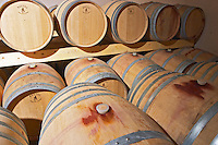 Chateau Mire l'Etang. La Clape. Languedoc. Barrel cellar. France. Europe.