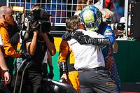 5th July 2020; Red Bull Ring, Spielberg Austria; F1 Grand Prix of Austria, Race Day;  Zak Brown USA, McLaren F1 Team hugs his driver 4 Lando Norris GBR, McLaren F1 Team, Spielberg Austria