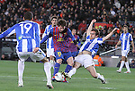 04.02.2012. Barcelona, Spain. Leo Messi and Mikel in action during La Liga match between FC Barcelona against Real Sociedad at Camp Nou