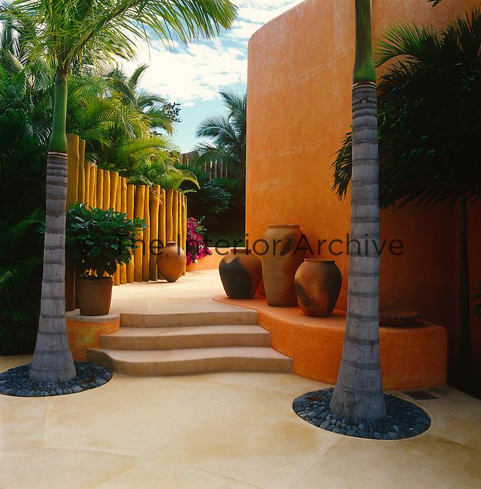 A pair of palm trees heralds the approach to the entrance to the property which is decorated with a collection of terracotta urns