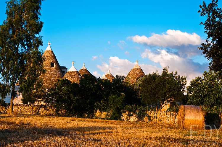 The cones of a trullo towering fields in Valle d'Itria, Puglia.