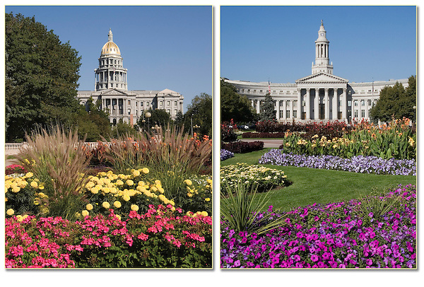 Greek Corinthian architecture of the State Capitol (left) and Denver County Courthouse frame Civic Center Park.<br /> Private photo tours of Denver by John. Click the above CONTACT button for inquiries. .  John offers private photo tours in Denver, Boulder and throughout Colorado. Year-round Colorado photo tours.