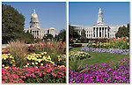 Greek Corinthian architecture of the State Capitol (left) and Denver County Courthouse frame Civic Center Park.<br />
