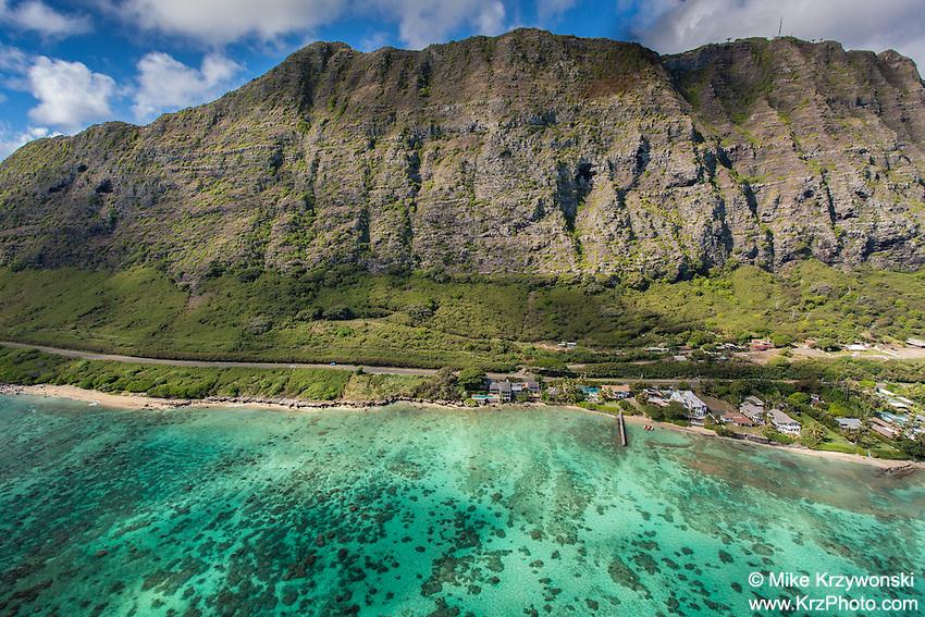 Aerial view of Waimanalo Beach, Oahu