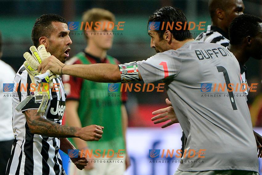 Carlos Tevez, Gianluigi Buffon Juventus<br /> Milano 20-09-2014 Stadio Giuseppe Meazza - Football Calcio Serie A Milan - Juventus. Foto Giuseppe Celeste / Insidefoto