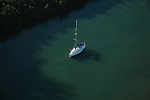 Aerial of Sail Boat outside of Palm Island, Boca Grand Florida