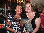 Elaine Sweeney presents Yvonne Murray with her raffle prize at the fundraiser for Tadhg Sheridan in McPhails....Photo NEWSFILE/Jenny Matthews.(Photo credit should read Jenny Matthews/NEWSFILE)....This Picture has been sent you under the condtions enclosed by:.Newsfile Ltd..The Studio,.Millmount Abbey,.Drogheda,.Co Meath..Ireland..Tel: +353(0)41-9871240.Fax: +353(0)41-9871260.GSM: +353(0)86-2500958.email: pictures@newsfile.ie.www.newsfile.ie.FTP: 193.120.102.198.