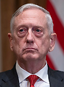United States Secretary of Defense James Mattis listens as US President Donald J. Trump makes a statement to the media as he prepares to receive a briefing from senior military leaders in the Cabinet Room of the White House in Washington, DC on Tuesday, October 23, 2018.  The President took questions on the proposed space force, immigration, the caravan and Saudi actions in the killing of Jamal Khashoggi.<br /> Credit: Ron Sachs / Pool via CNP