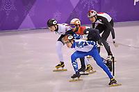 OLYMPIC GAMES: PYEONGCHANG: 17-02-2018, Gangneung Ice Arena, Short Track, 1000m Men, Semen Elistratov (OAR), John-Henry Krueger (USA), Ryosuke Sakazume (JPN), Sjinkie Knegt (NED), Sjinkie krijgt voor deze actie een penalty (PEN), ©photo Martin de Jong