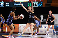 23.02.2018 Silver Ferns Bailey Mes in action during the Silver Ferns v Fiji Taini Jamison Trophy netball match at the North Shore Events Centre in Auckland. Mandatory Photo Credit ©Michael Bradley.
