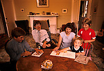 PROFESSOR STEPHEN HAWKING AT HOME WITH HIS YOUNG FAMILY CAMBRIDGE ENGLAND 1981. HIS FIRST WIFE JANE. 1980s UK.<br /> <br /> L-R Seen here with  eldest son Robert,wife Jane, Tim, Lucy.