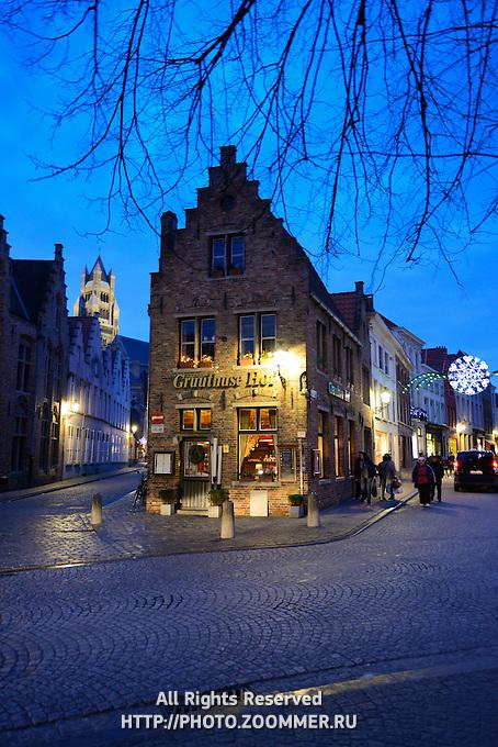 Brugge Street Scene At Night Near Gruuthuse Hof, Brugge, Belgium