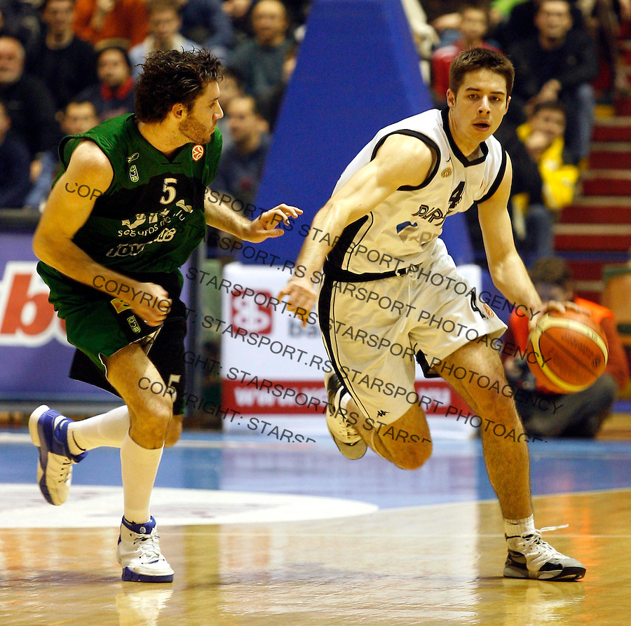 Kosarka, Euroleague, season 2006/07&amp;#xA;Partizan Vs. Joventut (Badalona Spain)&amp;#xA;Milenko Tepic, right, and Fernandez Rodolfo&amp;#xA;Beograd, 03.01.2007.&amp;#xA;foto: Srdjan Stevanovic<br />