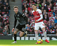 Burnley's Jeff Hendrick chases down Arsenal's Mesut Ozil<br /> <br /> Photographer David Shipman/CameraSport<br /> <br /> The Premier League - Arsenal v Burnley - Saturday 22nd December 2018 - The Emirates - London<br /> <br /> World Copyright © 2018 CameraSport. All rights reserved. 43 Linden Ave. Countesthorpe. Leicester. England. LE8 5PG - Tel: +44 (0) 116 277 4147 - admin@camerasport.com - www.camerasport.com