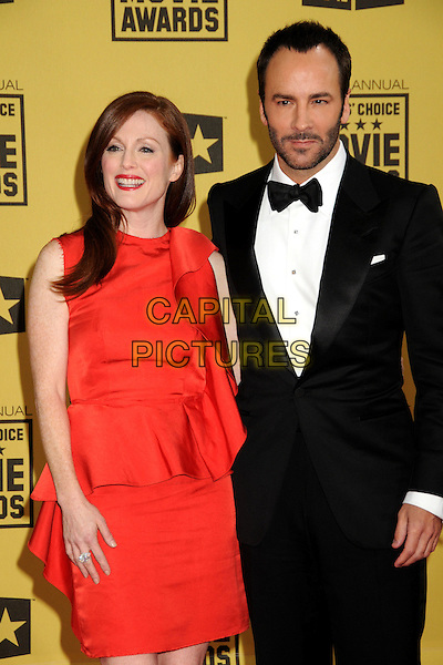 JULIANNE MOORE & TOM FORD .15th Annual Critics' Choice Movie Awards - Arrivals held at the Hollywood Palladium, Hollywood, California, USA, 15th January 2010..half length red orange sleeveless dress ruffle peplum tux tuxedo black bow tie beard facial hair .CAP/ADM/BP.©Byron Purvis/Admedia/Capital Pictures