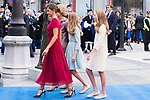 Queen Sofia, Queen Letizia, Princess of Asturias Leonor and Infant Sofia arrive to Teatro Campoamor for Princess of Asturias Awards 2019 in Oviedo. October 18, 2019 (Alterphotos/ Francis Gonzalez)