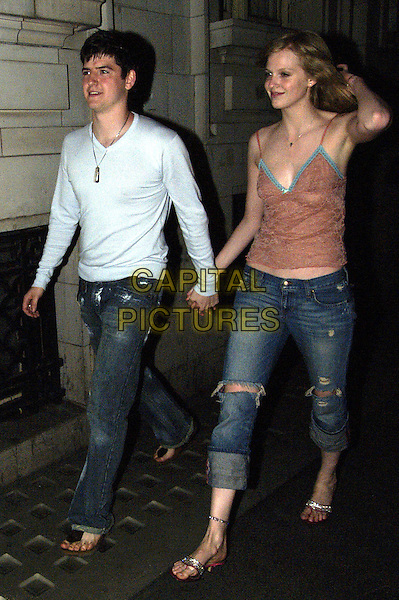 JAMES ALEXANDROU & FRIEND.Leaving nightclub in London, early hours of.19th May 2004..full length full-length ripped jeans.www.capitalpictures.com.sales@capitalpictures.com.©Capital Pictures