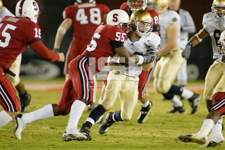 29 November 2003: Action during Stanford's game vs. Notre Dame at Stanford Stadium in Stanford, CA.