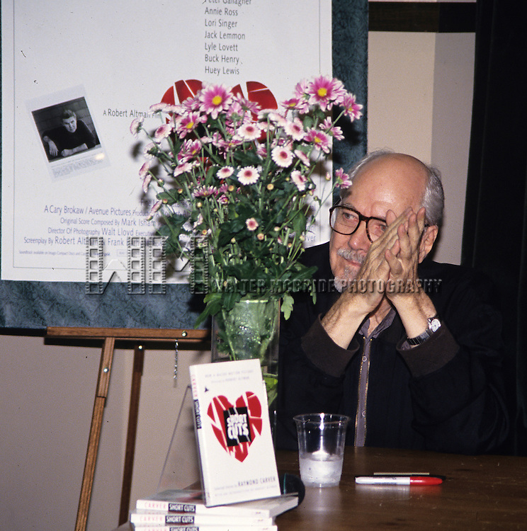 "Robert Altman pictured at the Barnes and Noble book store signing for ""Short Cuts"" in New York City on September 29, 1993."