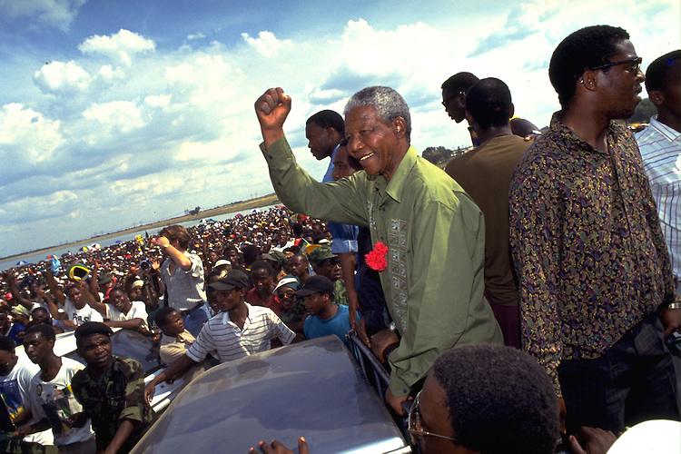 South Africa, Sharpeville, 1994.Nelson Mandela during a visit to Sharpeville in the weeks before the first free elections in South Africa..Photo by Felix Kalkman