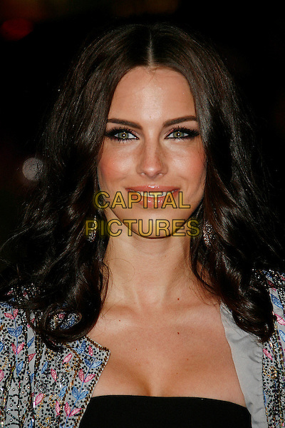 JESSICA LOWNDES .'Kick-Ass' UK film premiere.Empire cinema, Leicester Square, London, England, UK, 22nd March 2010.arrivals portrait headshot eyeliner make-up smiling black beaded pink gold blue .CAP/DAR.©Darwin/Capital Pictures.