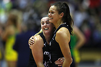 19.01.2019 Silver Ferns Gina Crampton and Ameliaranne Ekenasio during the Silver Ferns v Australia netball test match at The Copper Box Arena. Mandatory Photo Credit ©Michael Bradley Photography/Christopher Lee