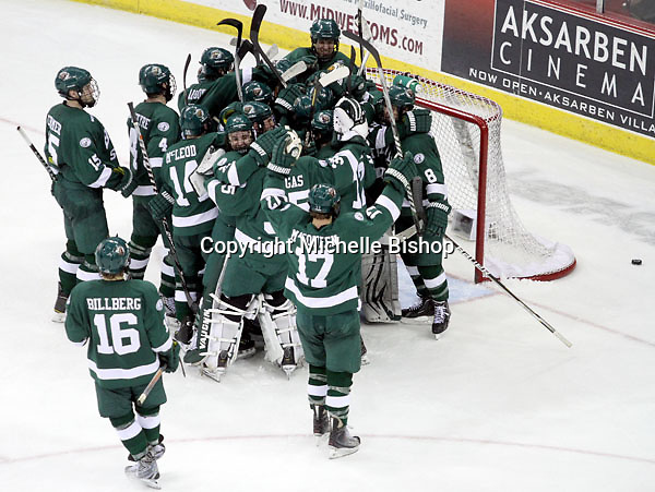 Bemidji State celebrates its 3-2 win over Nebraska-Omaha Saturday night at Qwest Center Omaha. The Beavers won the best-of-three WCHA first-round series and now advance to the WCHA's Final Five. (Photo by Michelle Bishop)