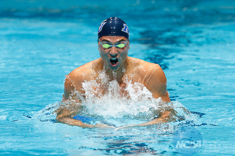 14 MAR 2015: Anton Lobanov of Nova Southeastern competes in the 200 yard breaststroke during the Division II Men's and Women's Swimming & Diving Championships held at IU Natatorium in Indianapolis, IN. Lobanov won the national title with a record time of 1:51.71. Joe Robbins/NCAA Photos